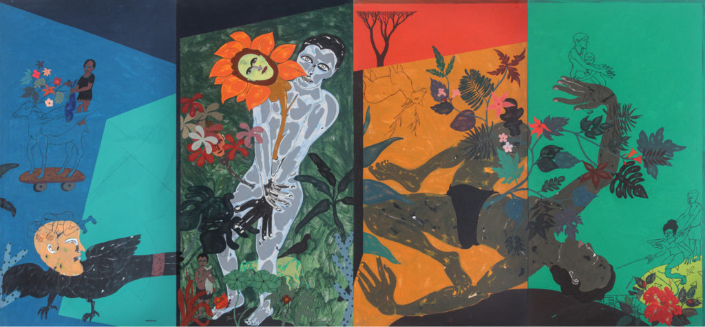 <em><strong>Untold Story 7</strong></em>[4 panels]. Acrylic on canvas, 8.8 x 4 feet, 2018