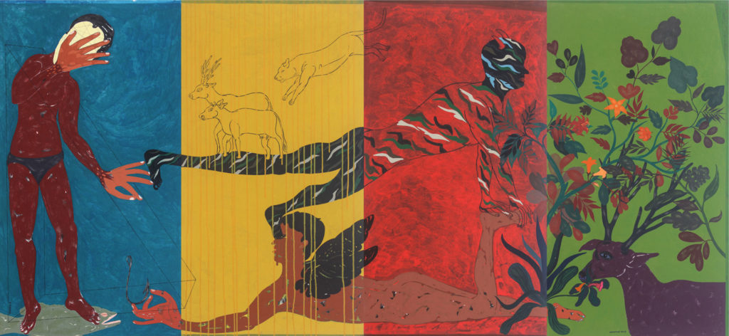 <em><strong>Untold Story 9 </strong></em>[4 panels]. Acrylic on canvas, 8.8 x 4 feet, 2018