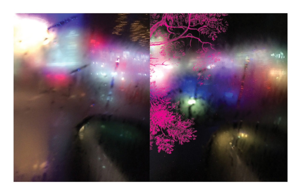 <em><strong>Streetlights</strong></em>. Digital collage on archival paper, 54 x 35 inches, 2015 Edition of 7