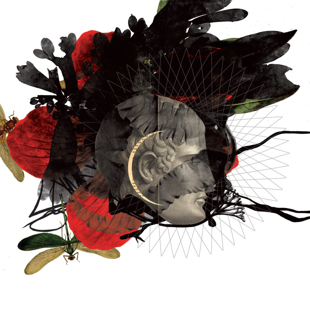 <em><strong>Black Ink and Red Flower</strong></em>. Digital collage on archival paper, 35 x 35 inches, 2016 Edition of 7
