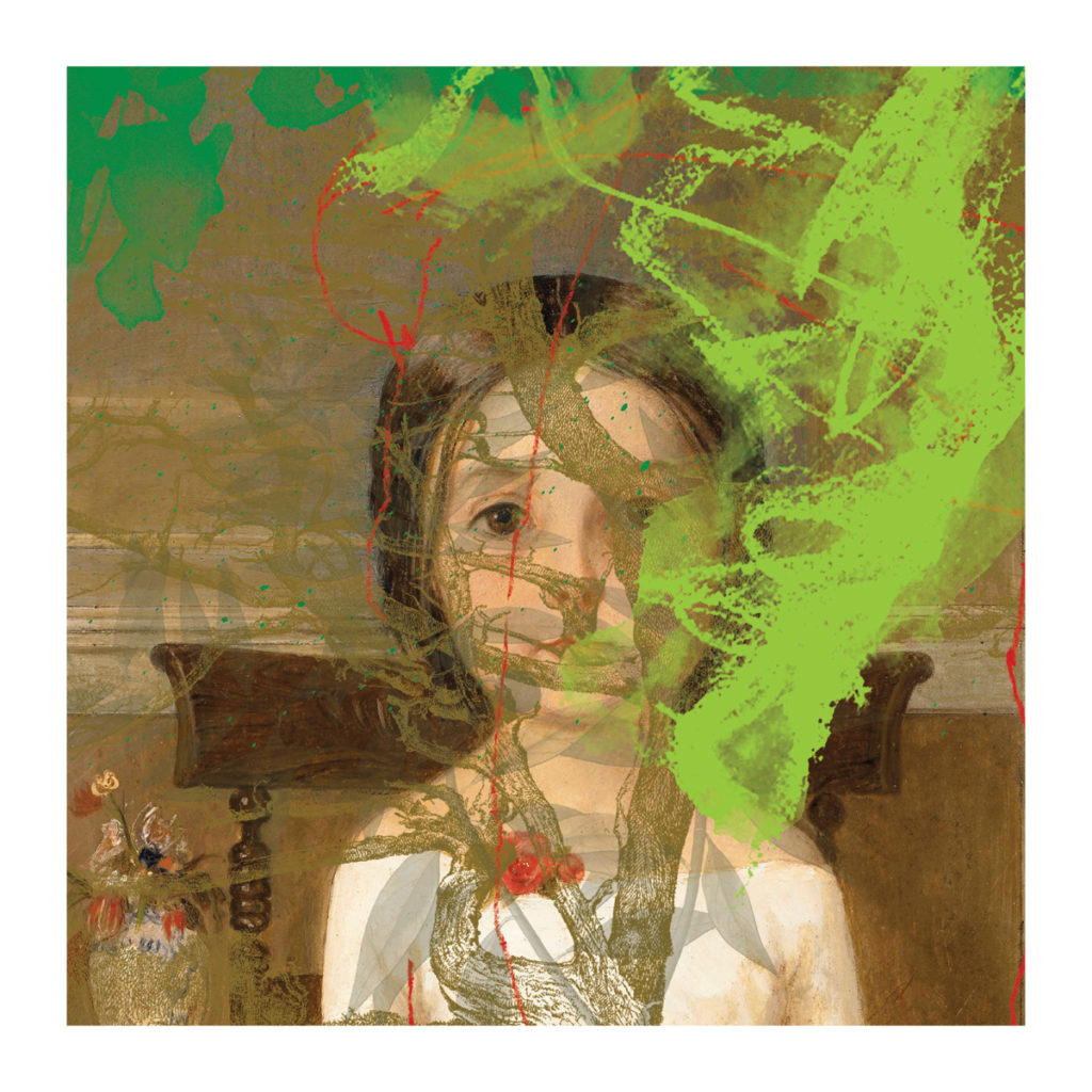 <em><strong>Girl in Green Study</strong></em>. Digital collage on archival paper, 35 x 35 inches, 2017 Edition of 7