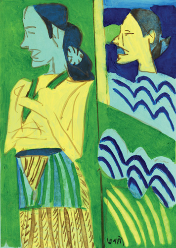 "<em><strong>Untitled</strong></em>. Reverse painting on mylar sheet, 8.5"" x 11.5"", 2008"