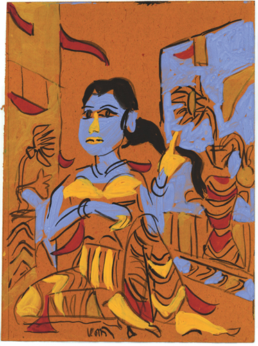 """<em><strong>Untitled</strong></em>. Gouache on handmade paper, approximately 12"""" x 15.75"""", 2008"""