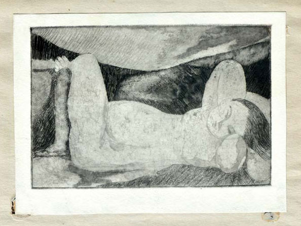 <em><strong>Untitled</strong></em>. Etching, 15.5 x 10.5 cm, 1956