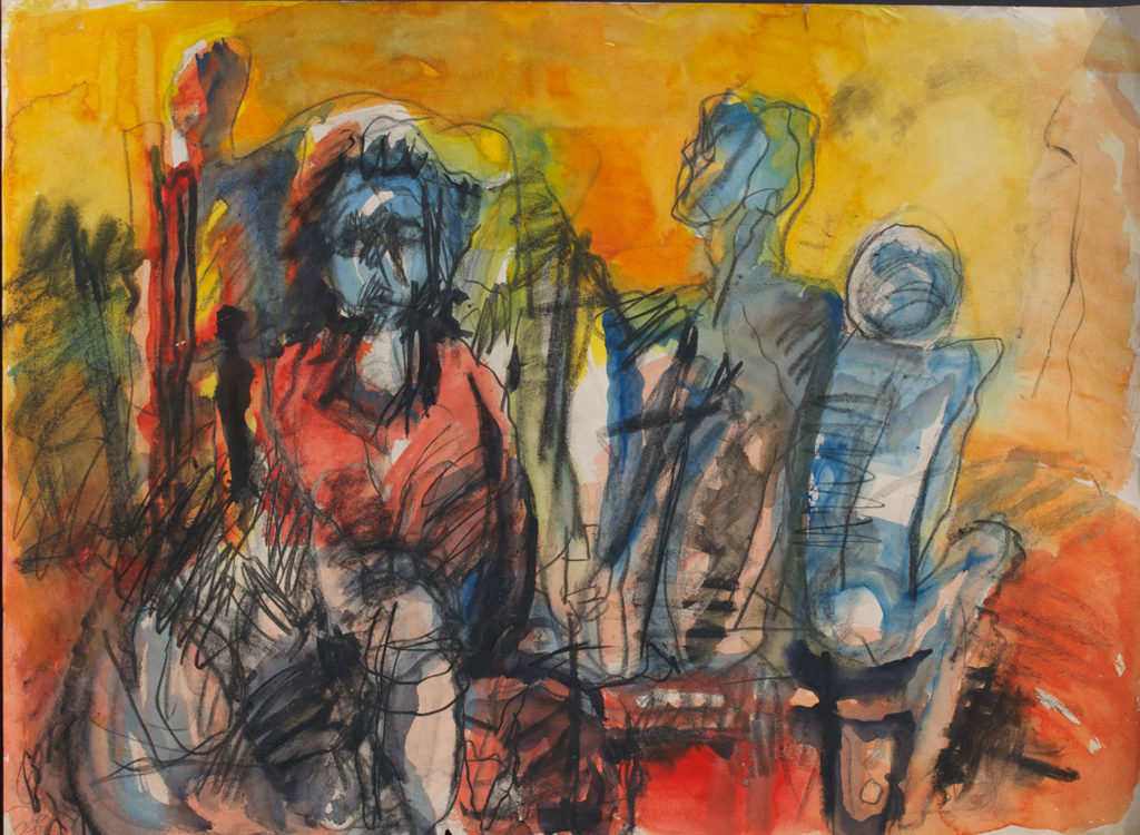 <em><strong>Group 3</strong></em>. Watercolour and pastel on paper, 29 x 21.5 inches