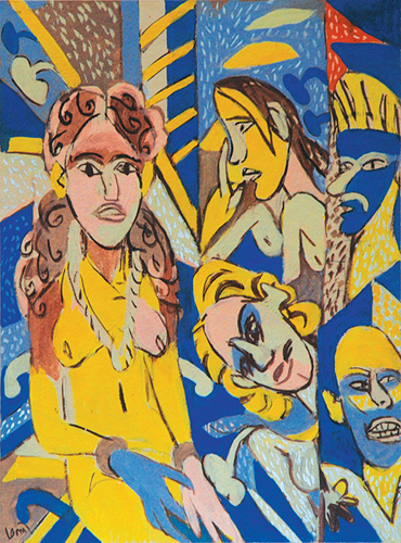 "<em><strong>Figure and Faces</strong></em>. Gouache on handmade paper, 22.5"" x 30"", 2008"