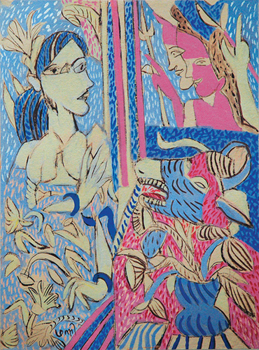 "<em><strong>Looking at the Deity</strong></em>. Gouache on handmade paper, 22.5"" x 30"", 2008"