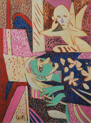 "<em><strong>Visit of the Angel</strong></em>. Gouache on handmade paper, 22.5"" x 30"", 2008"