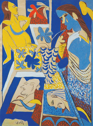"<em><strong>The Vase of Flowers</strong></em>. Gouache on handmade paper, 22.5"" x 30"", 2008"