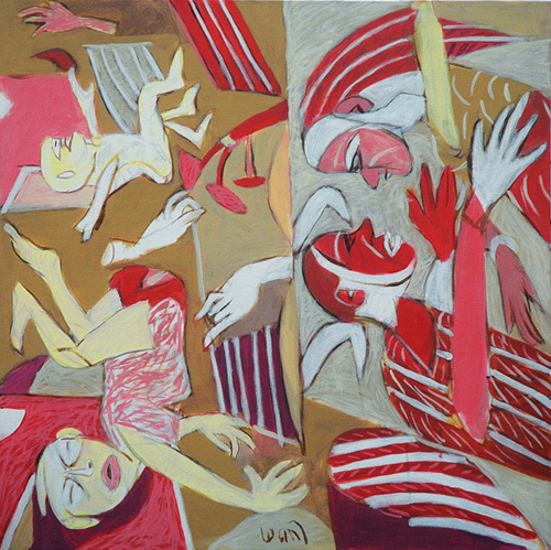 "<em><strong>Anatomy Lesson 2</strong></em>. Acrylic on canvas, 30"" x 30"", 2008"