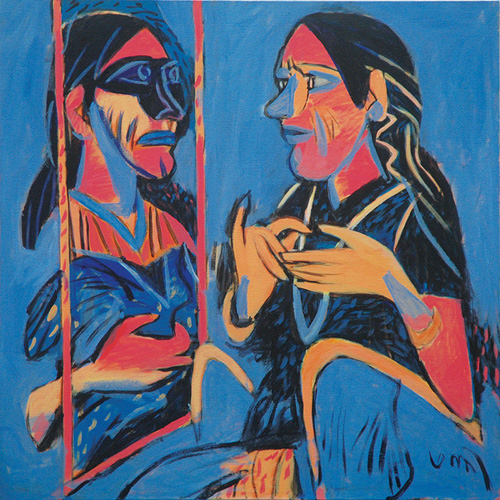 "<em><strong>The Mirror</strong></em>. Acrylic on canvas, 30"" x 30"", 2008"