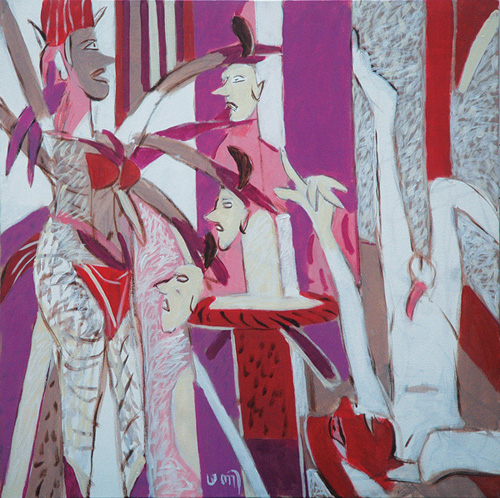 "<em><strong>The Visitor</strong></em>. Acrylic on canvas, 30"" x 30"", 2008"