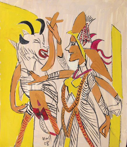 "<em><strong>Untitled</strong></em>. Gouache on paper, 12"" x 14"", 2008"
