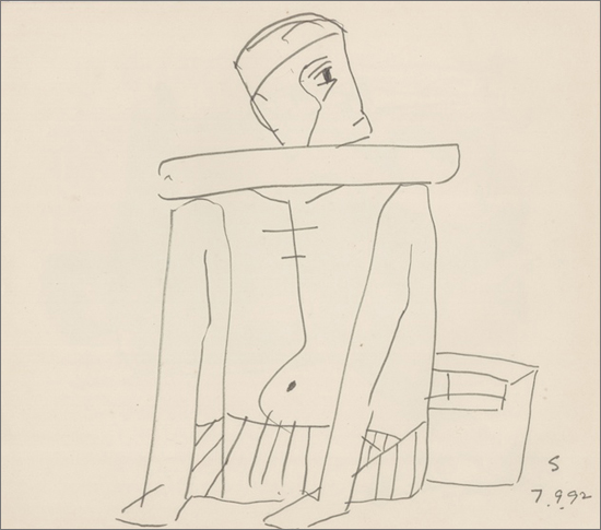 <em><strong>Untitled</strong></em>.Pen and ink on paper, 9 x 10 inches, 1992