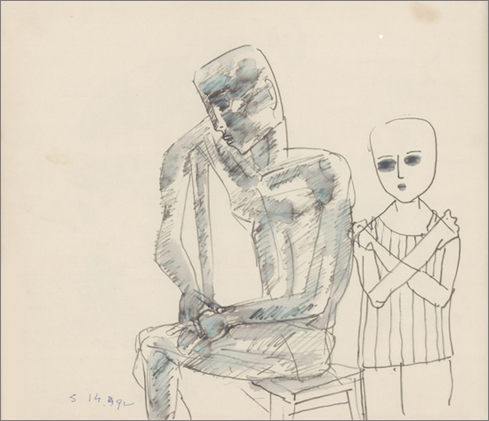 <em><strong>Untitled</strong></em>. Colour, pen and ink on paper, 9 x 10 inches, 1992