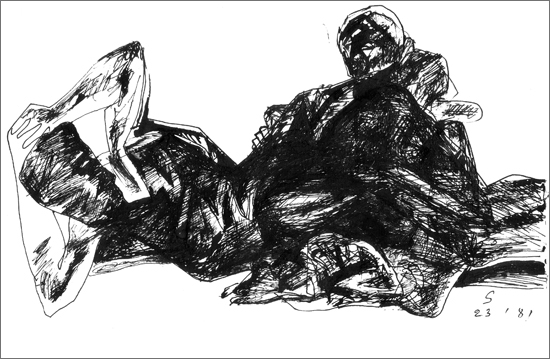 <em><strong>Untitled</strong></em>. Pen and ink on paper, 9.5 x 7 inches, 1981