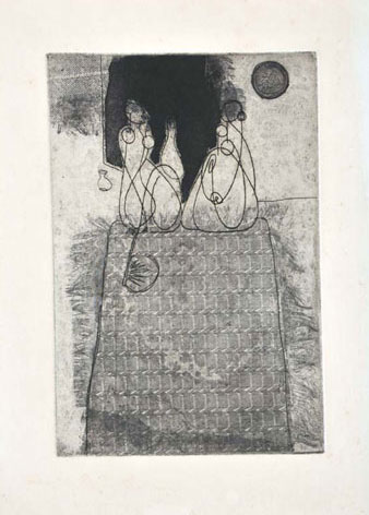 <em><strong>Untitled</strong></em>. Soft ground etching and aquatint, 7.2 x 10.9, early 1960s
