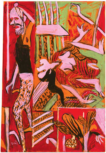 "<em><strong>Untitled</strong></em>. Gouache on handmade paper, 15.5"" x 22"", 2008"
