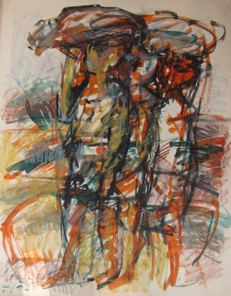 <em><strong>Child Carriers 3</strong></em>. Watercolour and pastel on paper, 21.5 x 27 inches