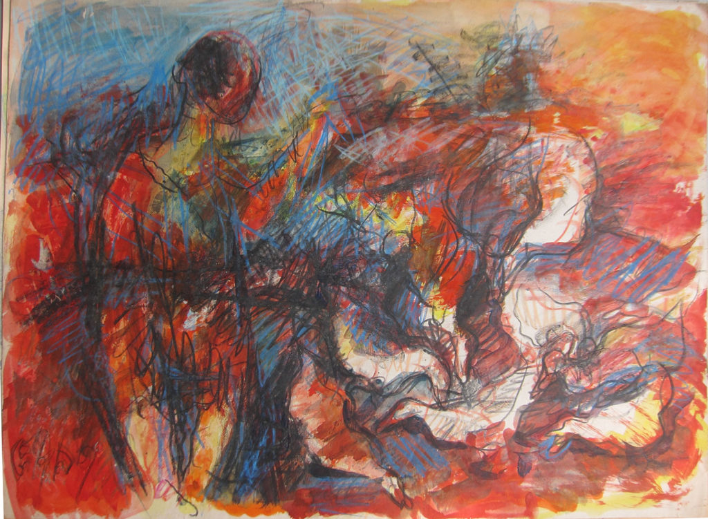<em><strong>Duckfeed</strong></em>. Watercolour and pastel on paper, 29.5 x 21.5 inches