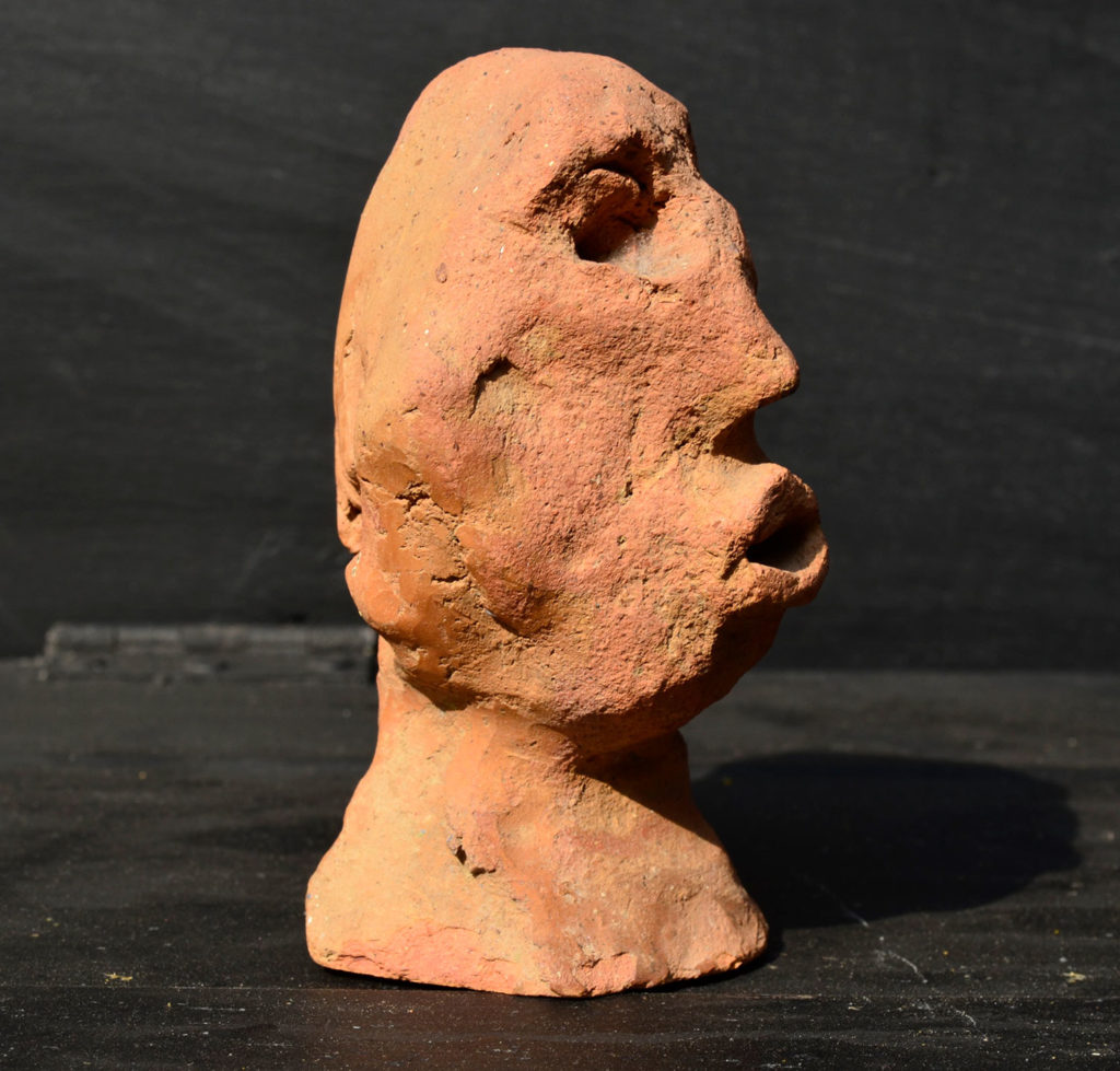 <em><strong>Head 3</strong></em>. Terracotta, 2.5 x 2.5 x 4.5 inches