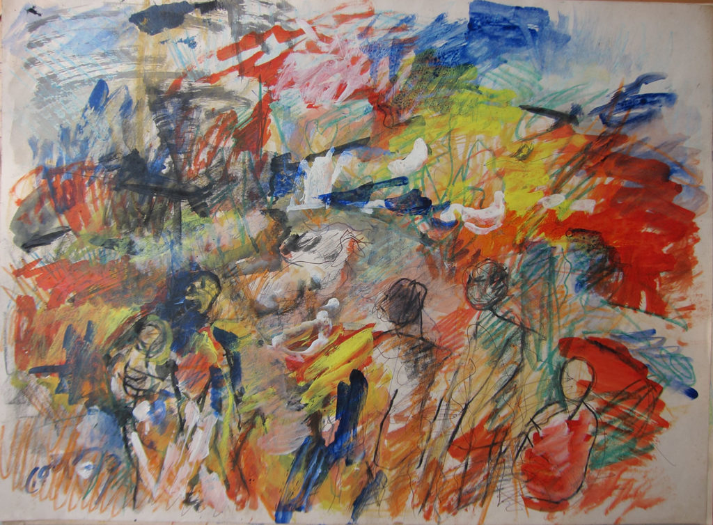 <em><strong>Landscape with figures</strong></em>. Watercolour and pastel on paper, 29.5 x 21.5 inches