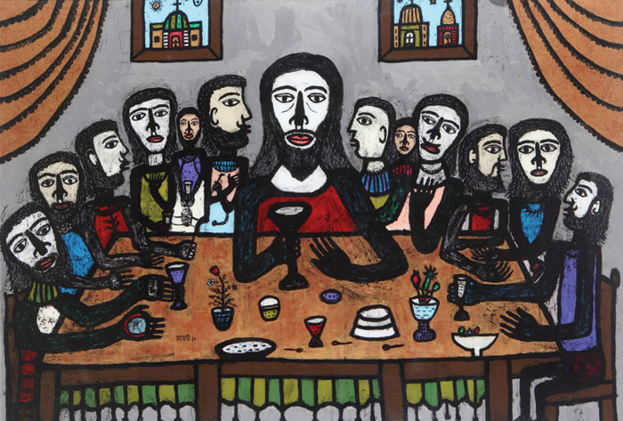 "<em><strong>Last Supper</strong></em>. Reverse painting on acrylic sheet, 72"" x 48"", 2010"