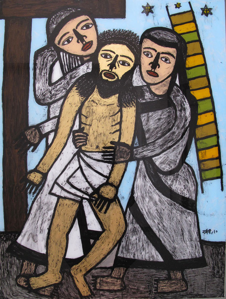 "<em><strong>Christ Travelling with his Disciples 3</strong></em>. Reverse painting on acrylic sheet, 36"" x 48"", 2010"