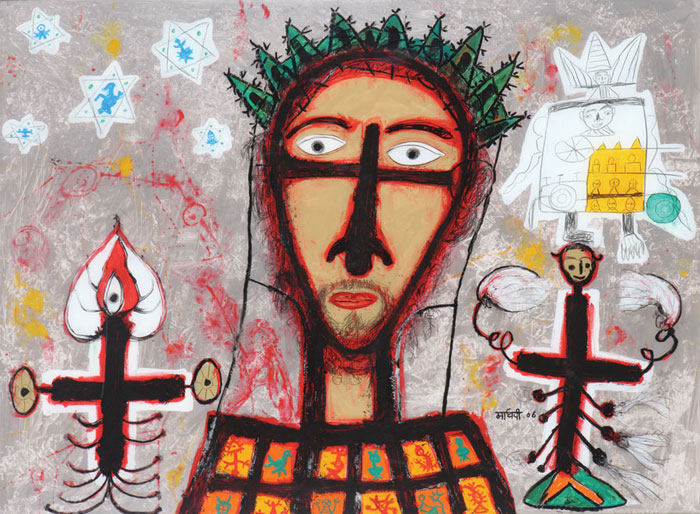 "<em><strong>Portrait of Christ 2</strong></em>. Reverse painting on acrylic sheet,48""x 36"", 2006"