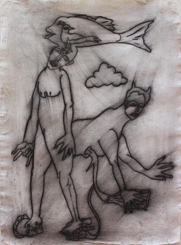 <em><strong>Untitled</strong></em>. Charcoal on paper, 22 x 31 inches, 2016