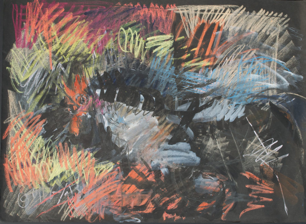 <em><strong>Rooster</strong></em>. Watercolour and pastel on paper, 29 x 21.5 inches, 1997