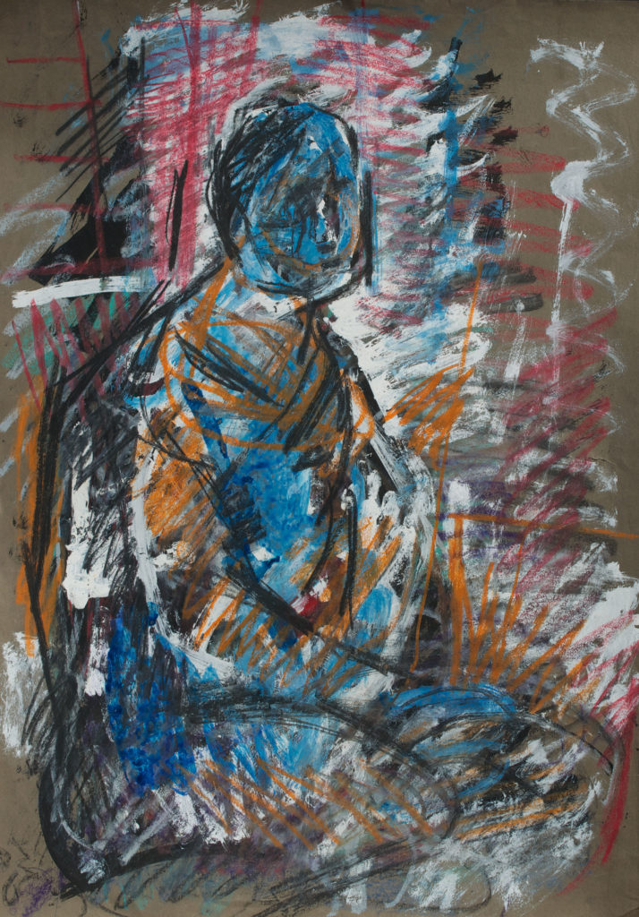 <em><strong>Seated </strong></em>. Pastel on paper, 15.5 x 22.5 inches, 1992