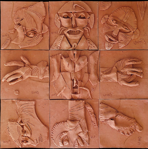<em><strong>Anatomy Lesson 1</strong></em>. Terracotta, 3 x 3 feet