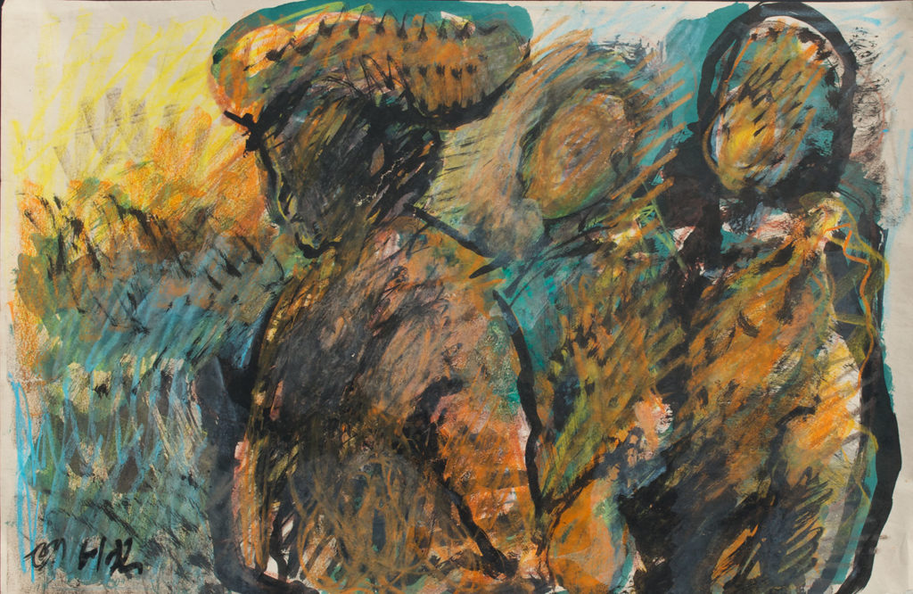 <em><strong>Twig Carriers</strong></em>. Watercolour and pastel on paper, 21.5 x 14 inches