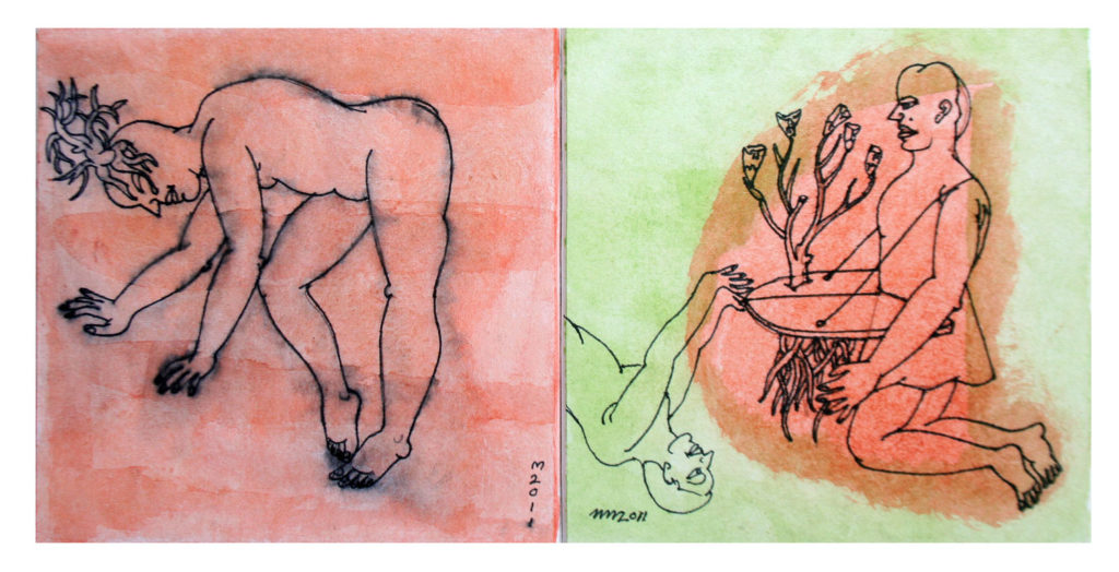 <em><strong>Untitled</strong></em>. Gouache and pen on hard paper, 5 x 5 inches each, 2011