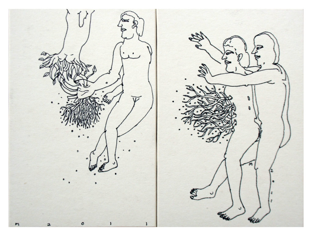 <em><strong>Untitled</strong></em>. Pen on hard paper, 6 x 4 inches each, 2011