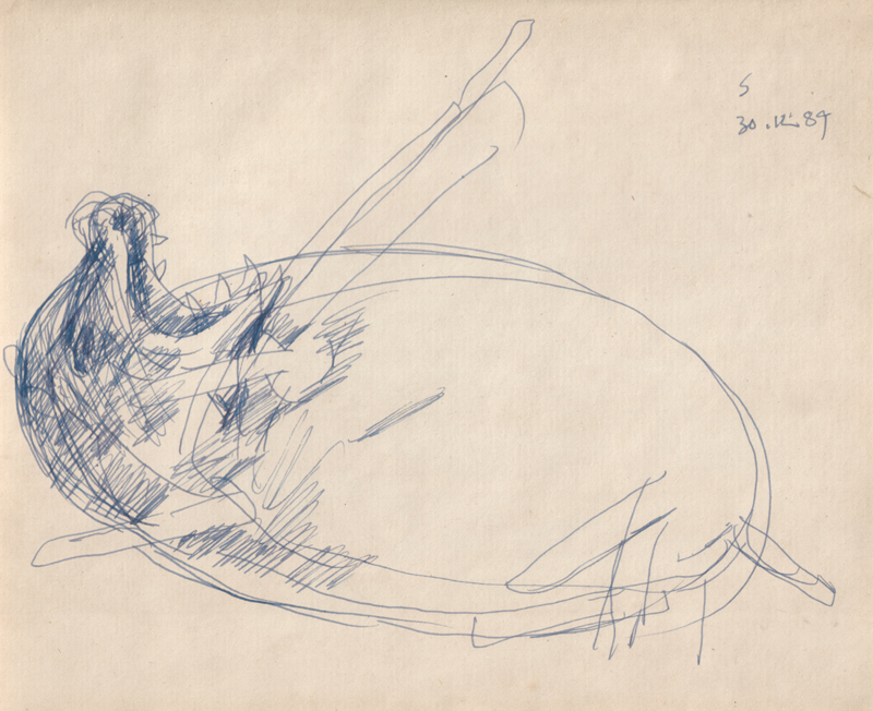 <em><strong>Untitled</strong></em>. Pen on paper, 8 x 6.5 inches, 1989