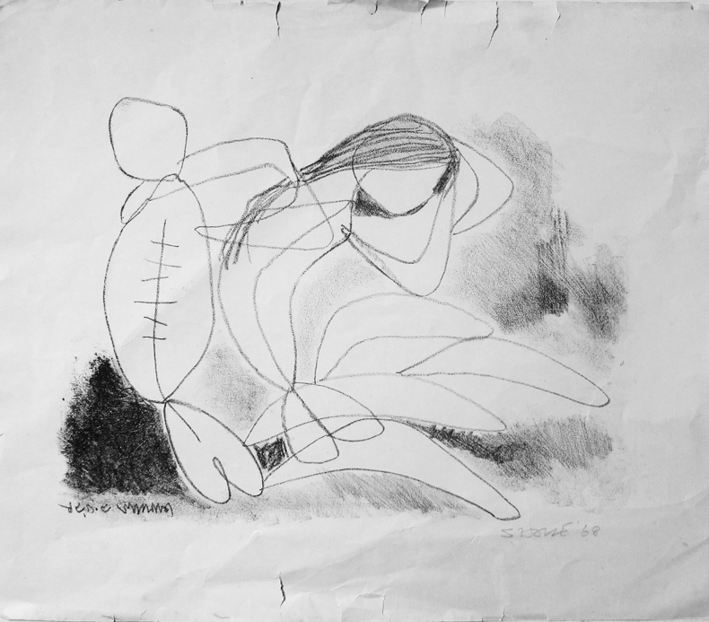 <em><strong>Untitled</strong></em>. Charcoal on paper, 13 x 17 inches, 1968
