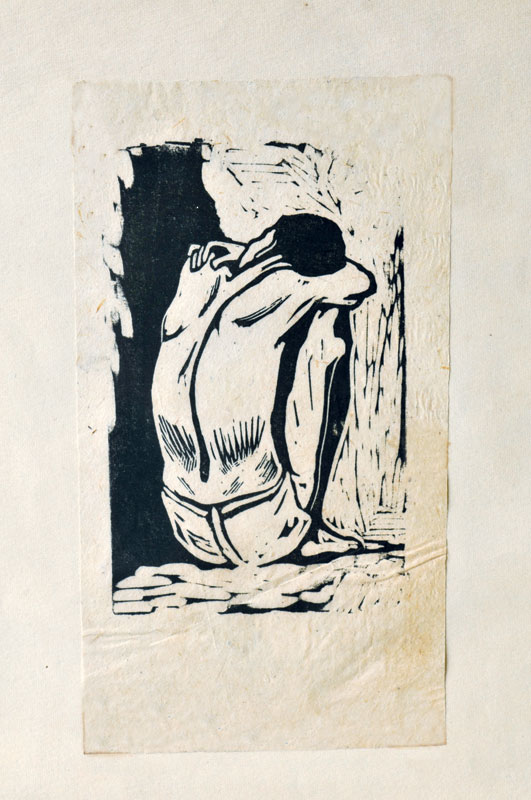 <em><strong>Untitled</strong></em>. Woodcut, 3 x 4.5 inches, 1950s