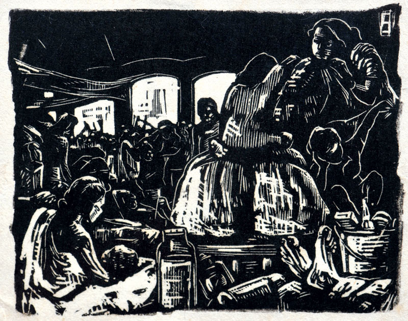 <em><strong>Untitled</strong></em>. Woodcut, 9 x 4.5 inches, early 1950s