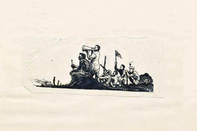 <em><strong>Untitled</strong></em>. Woodcut, 8.5 x 6 inches, early 1950s