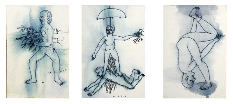 <em><strong>Drawing 22</strong></em>. Pen on hard paper, 4 x 6 inches each, 2011