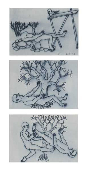 <em><strong>Drawing 31</strong></em>. Pen on hard paper, 5 x 3.5 inches each, 2011