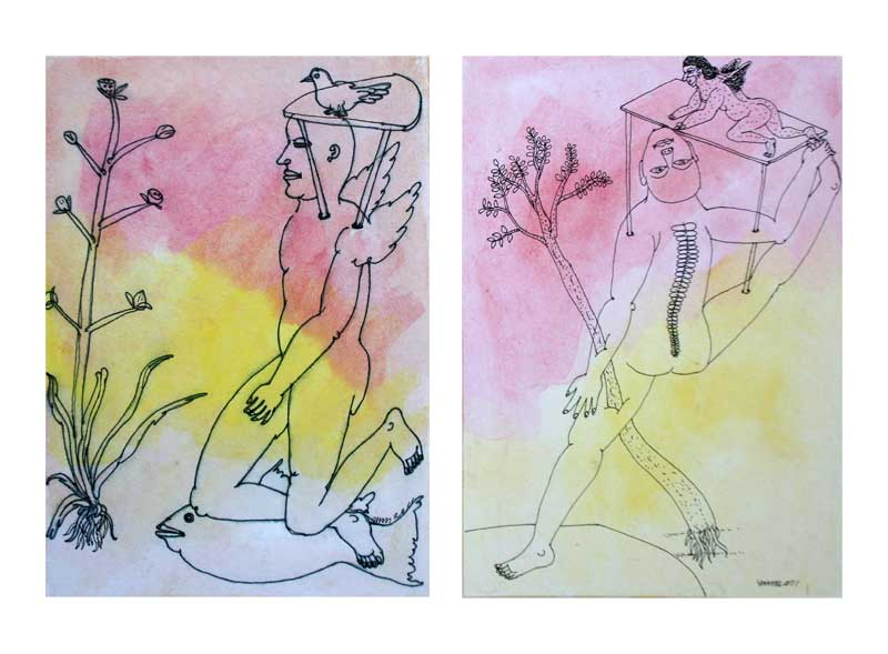 <em><strong>Drawing 33</strong></em>. Water colour and pen on hard paper, 8 x 5.5 inches each, 2011