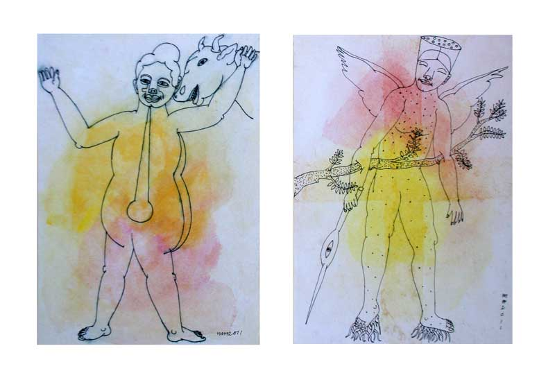 <em><strong>Drawing 34</strong></em>. Water colour and pen on hard paper, 8 x 5.5 inches each, 2011