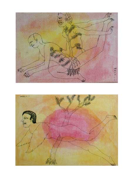 <em><strong>Drawing 36</strong></em>. Water colour and pen on hard paper, 8 x 5.5 inches each, 2011