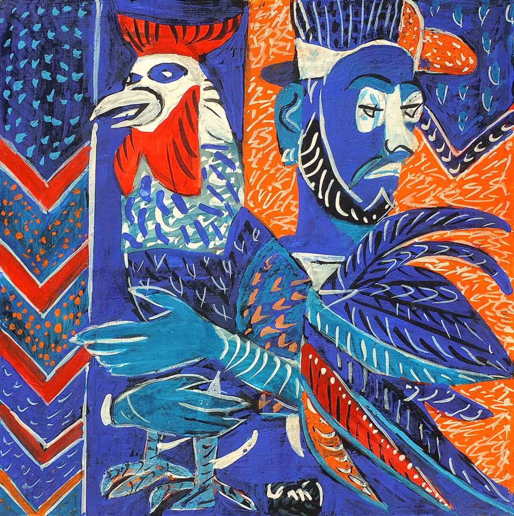 <em>Man with Rooster</em>. Gouache on board, 15 x 15 inches, 2013