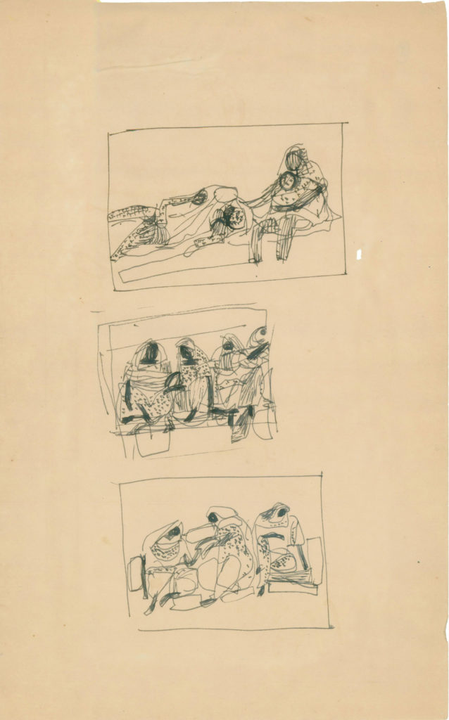 <em>Untitled</em>. Pen and ink on paper, 8 x 12 inches, c.1960
