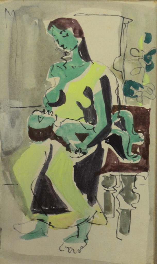 <em>Untitled</em>. Pen and watercolour on paper, 4 x 7 inches, 1953