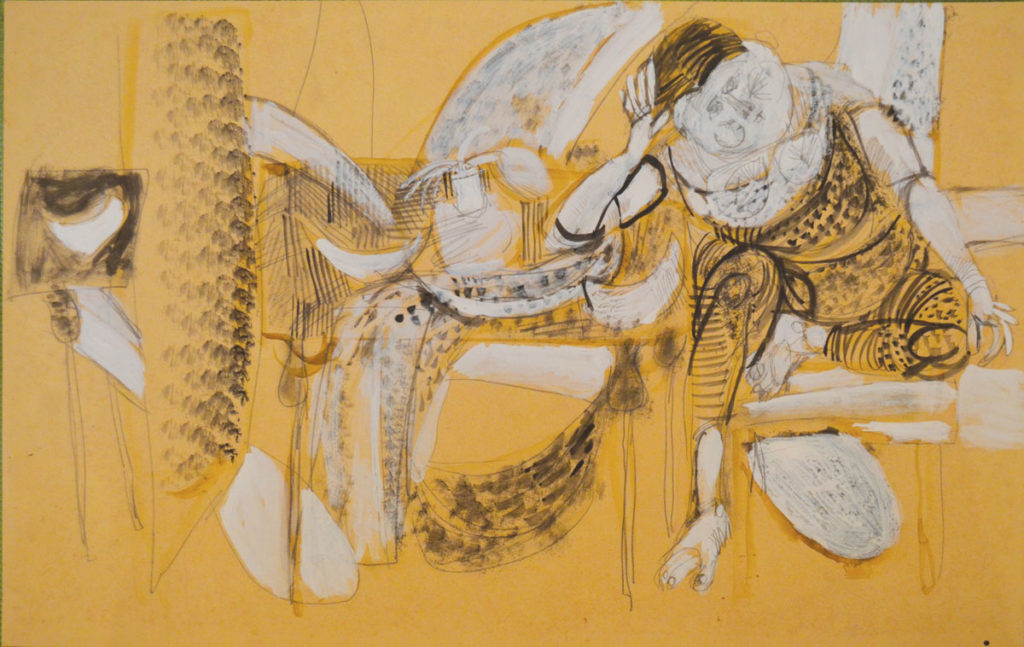 <em>Untitled</em>. Pencil and watercolour on paper, 22.5 x 14 inches, 1959